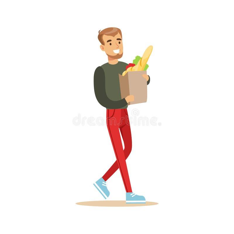 Mężczyzna Z Papierową torbą sklepu spożywczego zakupy W Wydziałowym sklepie, postać z kreskówki kupienia rzeczy W sklepie ilustracja wektor