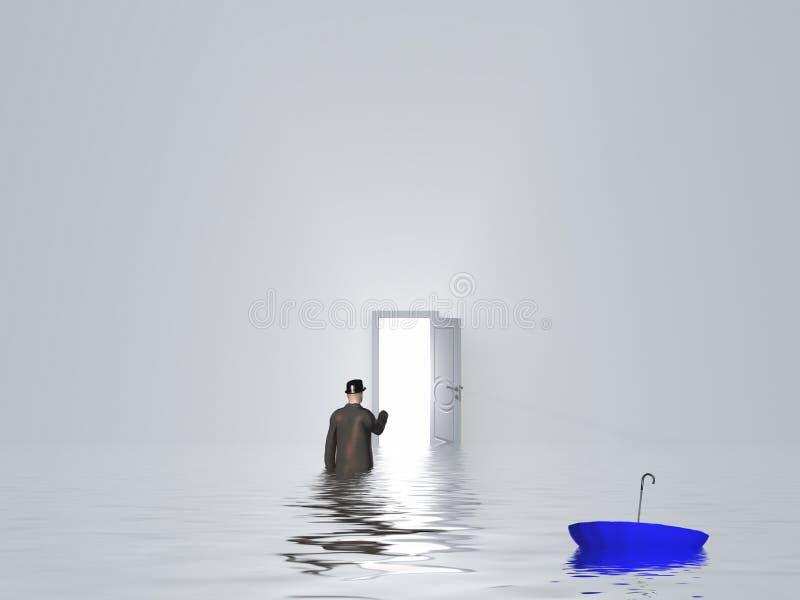 Download Mężczyzna Z Parasolem W Czystym Białym Pokoju Ilustracji - Ilustracja złożonej z drzwi, pusty: 41952695