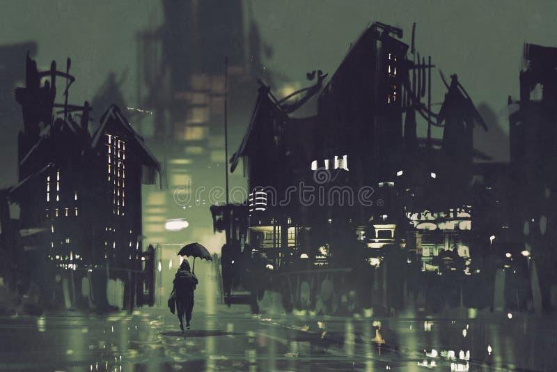 Mężczyzna z parasolowym odprowadzeniem w ciemnym mieście przy nocą royalty ilustracja