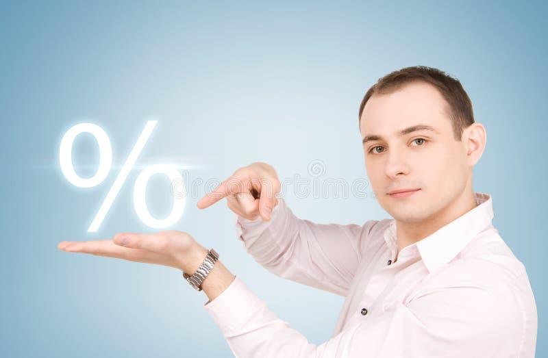 Mężczyzna z procentu znakiem obraz stock