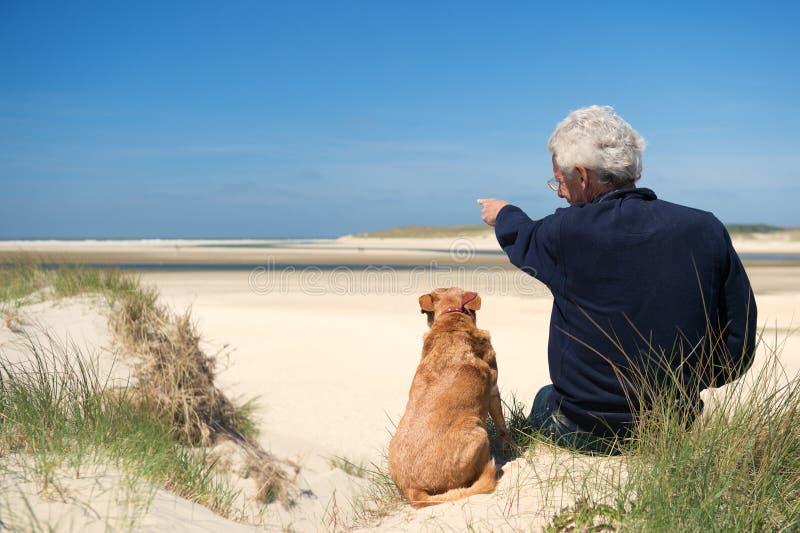 Mężczyzna z psem na piasek diunie fotografia royalty free