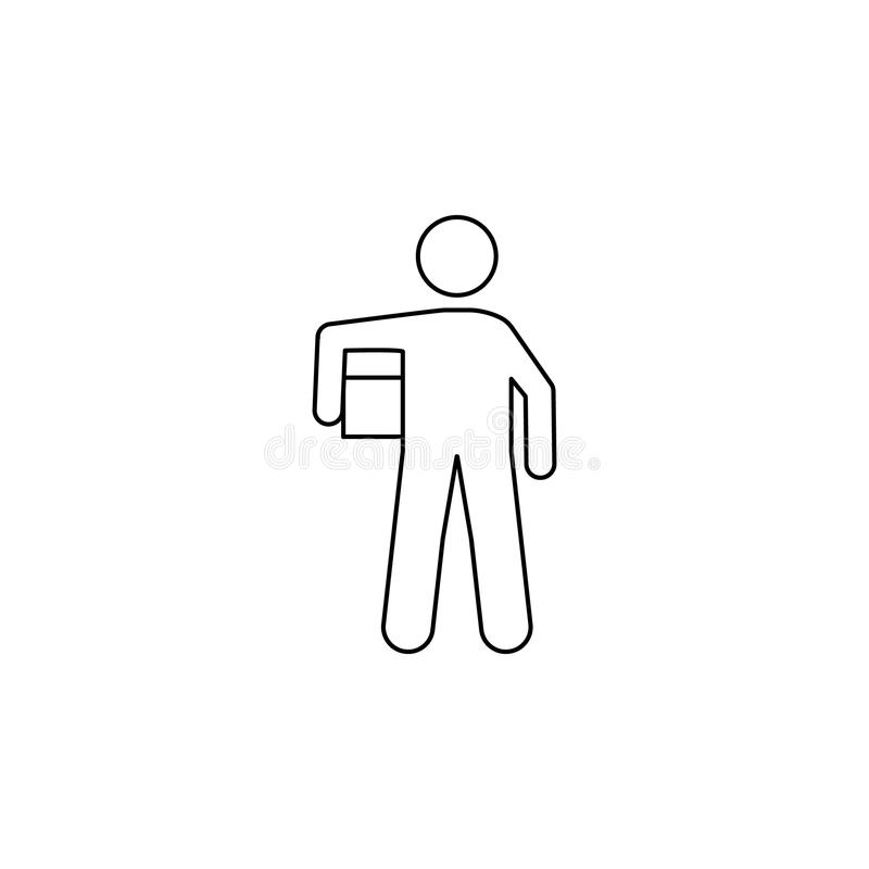 mężczyzna z pudełkiem niesie pudełkowatą ikonę Element mężczyzna niesie pudełkowatą ilustrację Premii ilości graficznego projekta ilustracji
