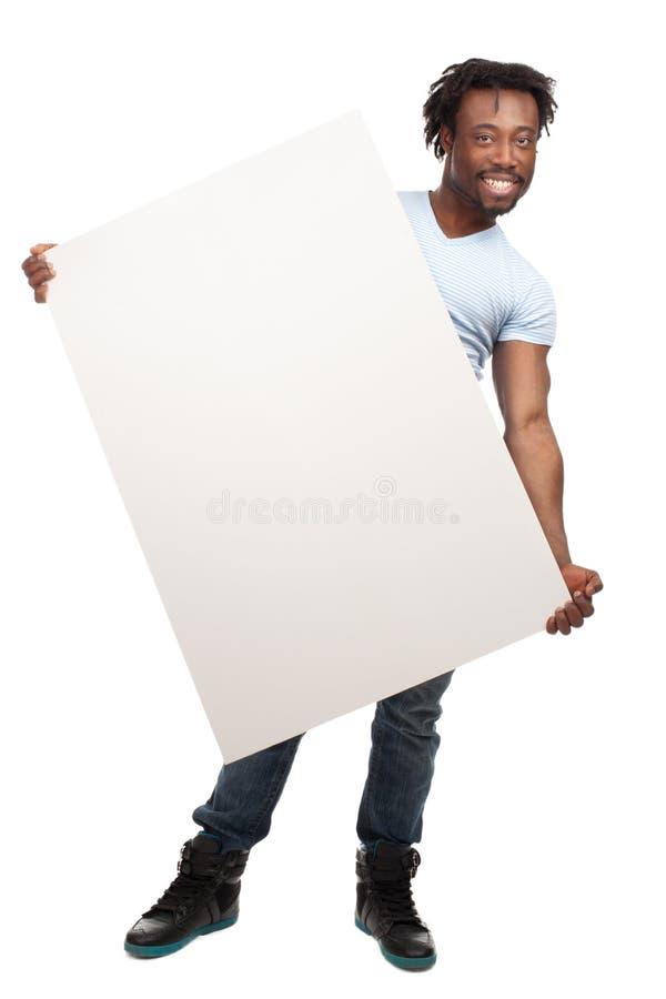 Mężczyzna z pustym billboardem obraz royalty free