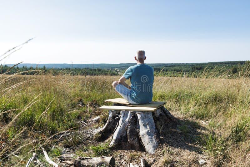 Mężczyzna z puszki obsiadaniem na drzewie i robić joga obraz royalty free