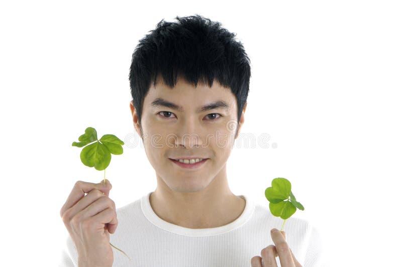 Mężczyzna z rośliną obrazy stock