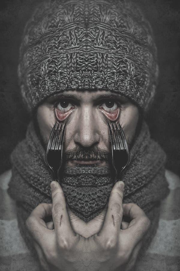 Mężczyzna z rozwidleniem w jego oku, pojęcia niebezpieczeństwo, ryzyko obrazy royalty free