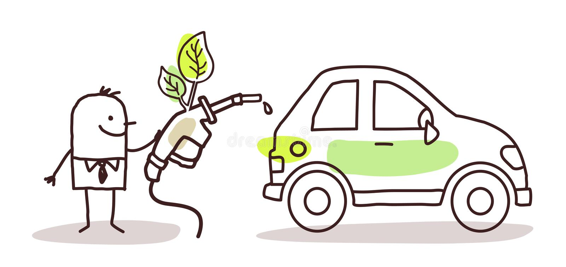 Mężczyzna z samochodem i paliwem ilustracji