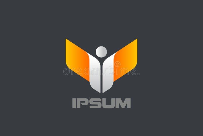 Mężczyzna z skrzydło zwycięzcy lidera loga projekta wektoru szablonem Korporacyjnego biznesu charakteru logotypu pojęcia abstrakc ilustracja wektor