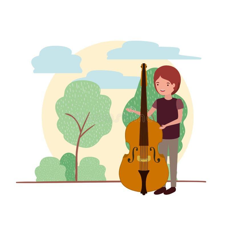 Mężczyzna z skrzypki w krajobrazowym avatar charakterze ilustracja wektor