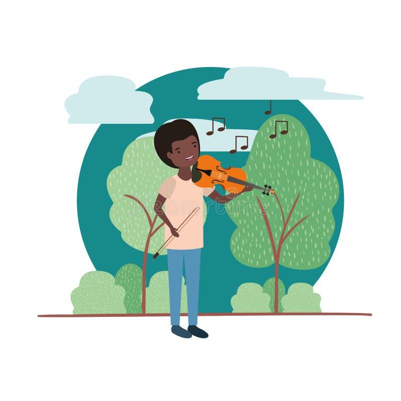 Mężczyzna z skrzypki w krajobrazowym avatar charakterze royalty ilustracja