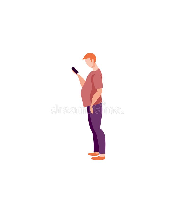 Mężczyzna z smartphone ilustracji