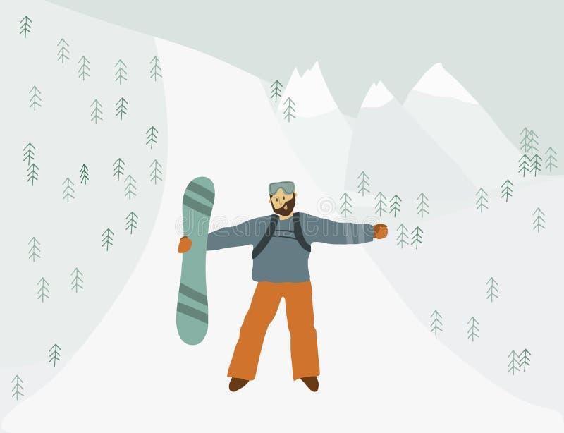Mężczyzna z snowboard w zbocze góry aktywności wakacjach royalty ilustracja