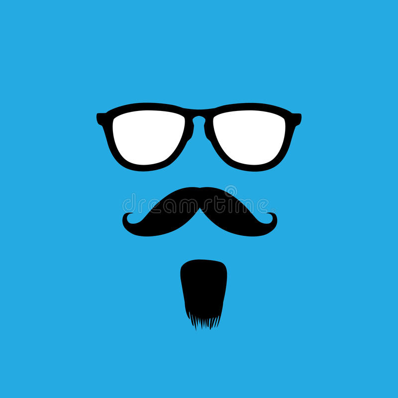 Mężczyzna z starego stylu wąsy, brodą & okularami przeciwsłonecznymi wektorowymi, royalty ilustracja