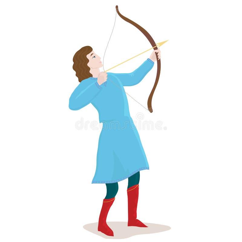 Mężczyzna z strzała i łękiem łuczniczki ilustracji