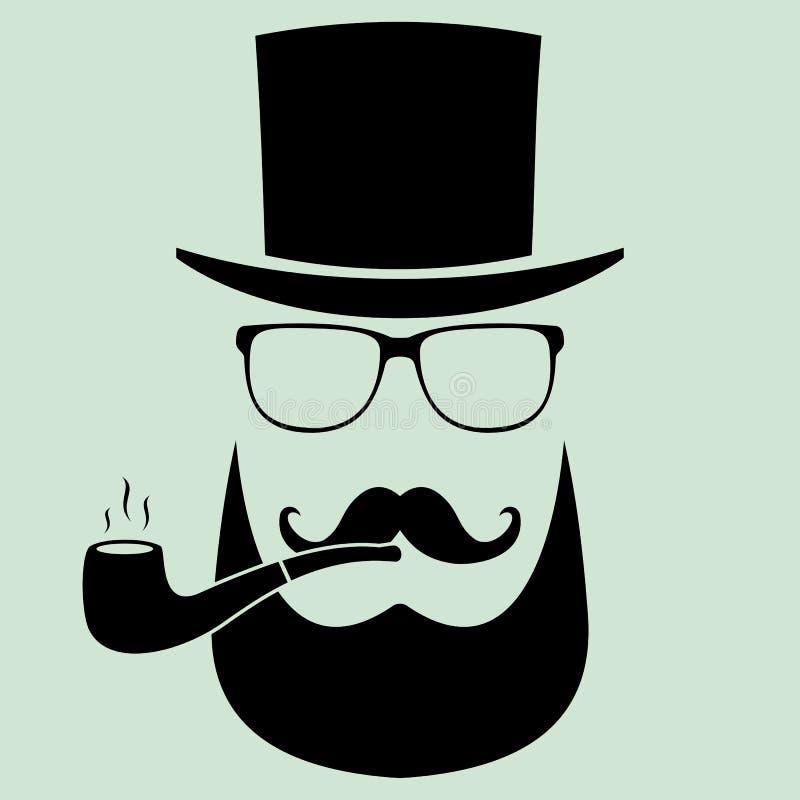 Mężczyzna z szkłami i kapeluszem z drymbą, wąsy modniś fla ilustracji