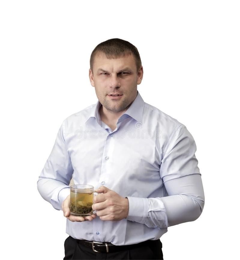 Mężczyzna z szkłem herbata fotografia stock