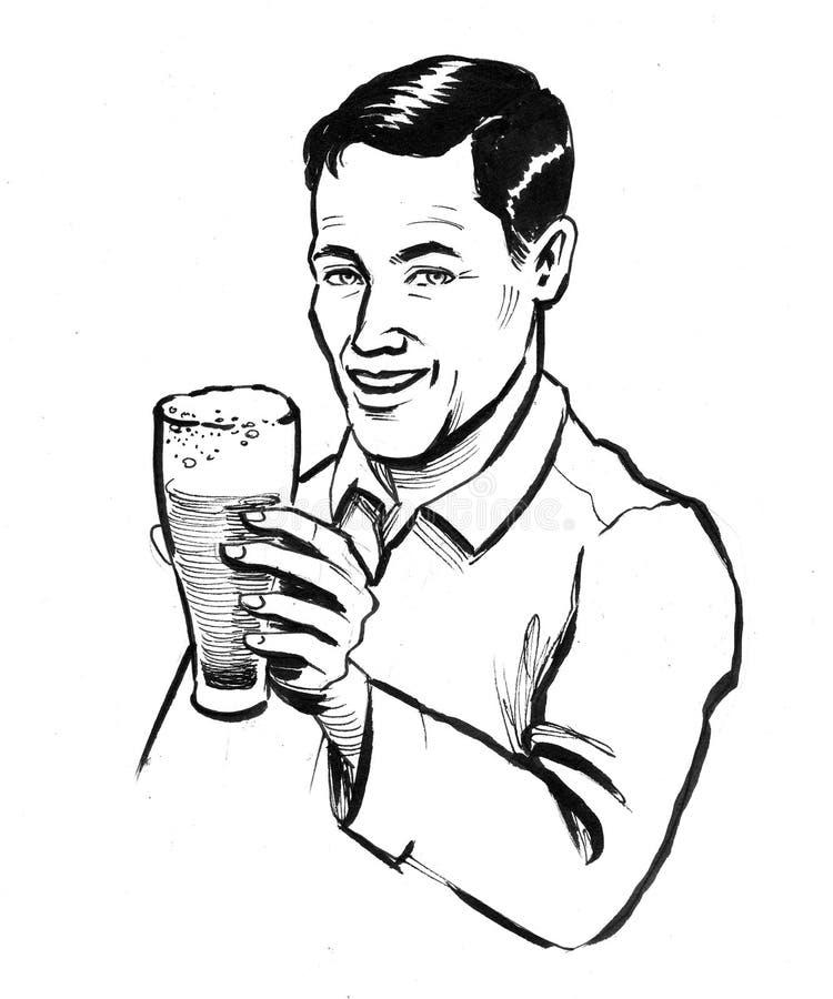 Mężczyzna z szkłem piwo ilustracja wektor