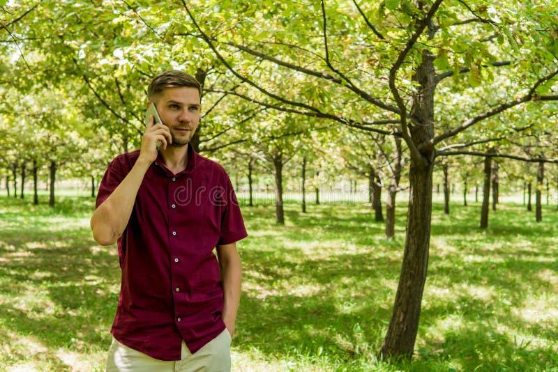 Mężczyzna z telefonem komórkowym w lato parku Młody przystojny mężczyzna z sm zdjęcie royalty free