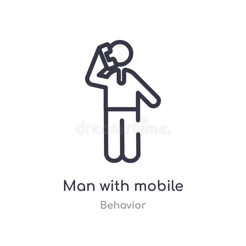 mężczyzna z telefonu komórkowego konturu ikoną odosobniona kreskowa wektorowa ilustracja od zachowanie kolekcji editable cienki u royalty ilustracja