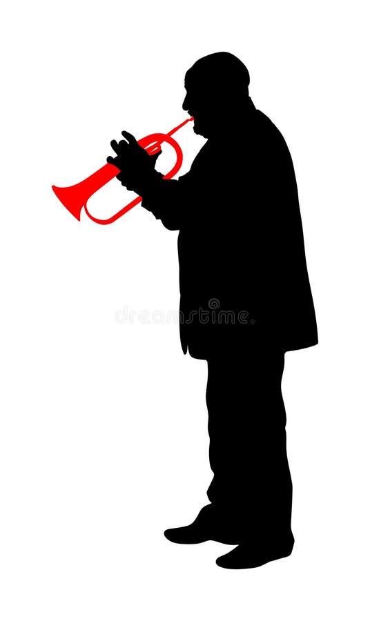 Mężczyzna z trąbką na sceny wektorowej sylwetce odizolowywającej na białym tle Muzyczni mężczyzna Jazzowy mężczyzna royalty ilustracja