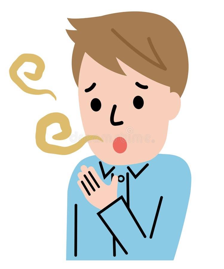 Mężczyzna z usta zapachem odizolowywającym na białym tle t?o zamazywa? opieki poj?cia twarzy zdrowie maski pigu?k? ochronn? ilustracji