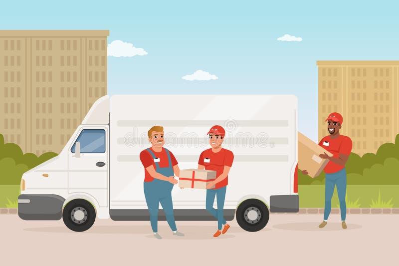 Mężczyzna z wąsy daje pakuneczkowi młody kurier Doręczeniowej usługa samochód Pracownicy w czerwień mundurze Zielony park i miast ilustracji
