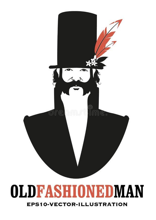 Mężczyzna z wąsy i sideburns, w starym stylu, jest ubranym odgórnego kapelusz dekorującego z kwiatami i piórkami royalty ilustracja