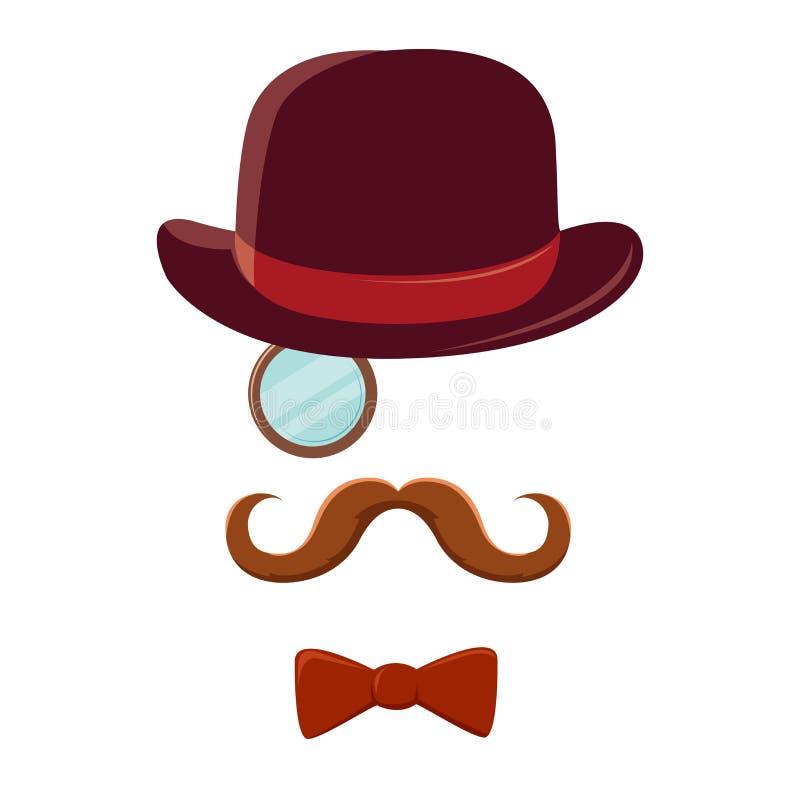 Mężczyzna Z wąsy Odgórnym kapeluszem i łęku krawatem royalty ilustracja