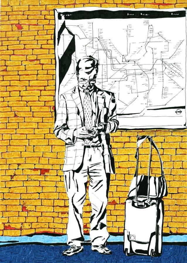 Mężczyzna z walizką ilustracji