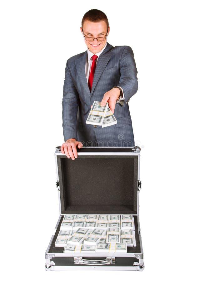 Mężczyzna z walizką pieniądze zdjęcie royalty free
