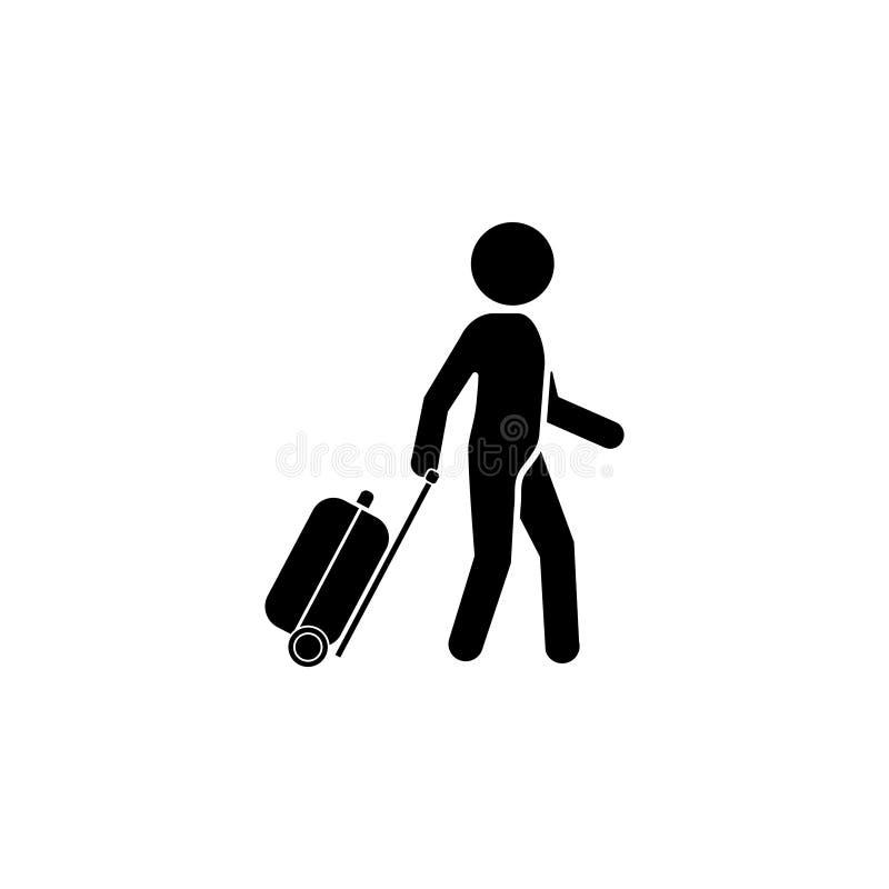 Mężczyzna z walizki ikoną podróżnik royalty ilustracja