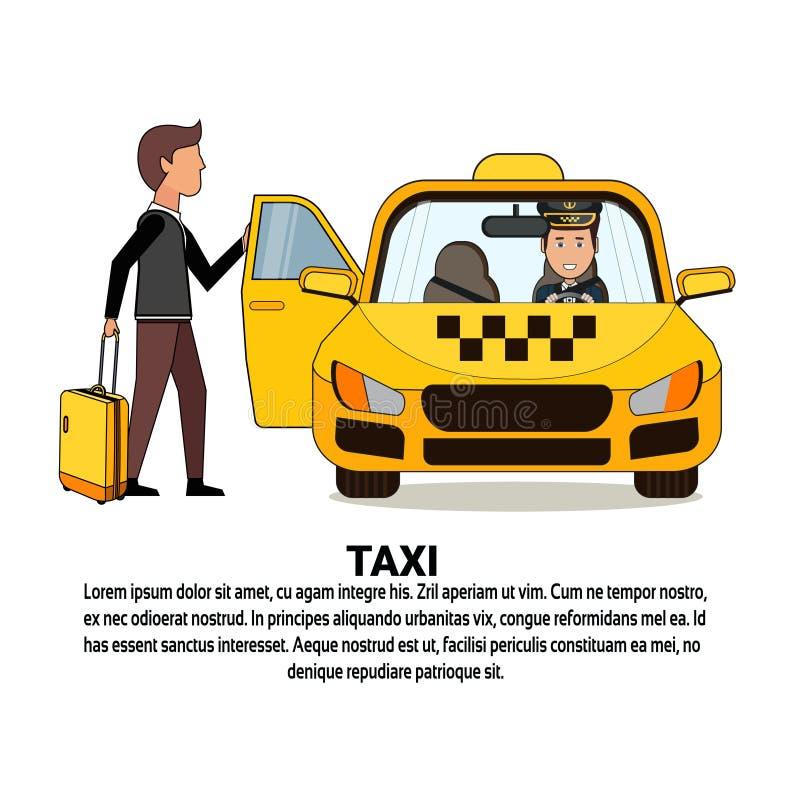 Mężczyzna Z walizki obsiadaniem W Żółtej taksówki taxi usługa Samochodowej ikonie Nad tłem Z kopii przestrzenią ilustracji