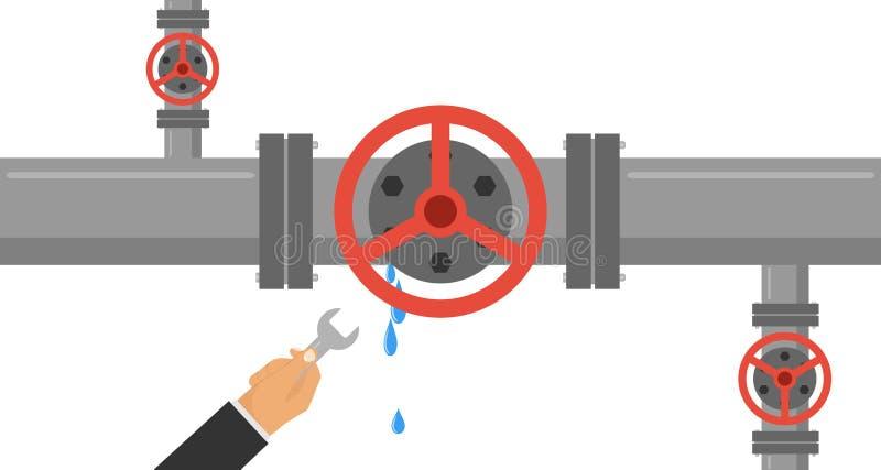 Mężczyzna z wyrwaniem eliminuje przeciek w drymbie Ręka trzyma wyrwanie i eliminuje przeciek w wodnej drymbie ilustracja wektor