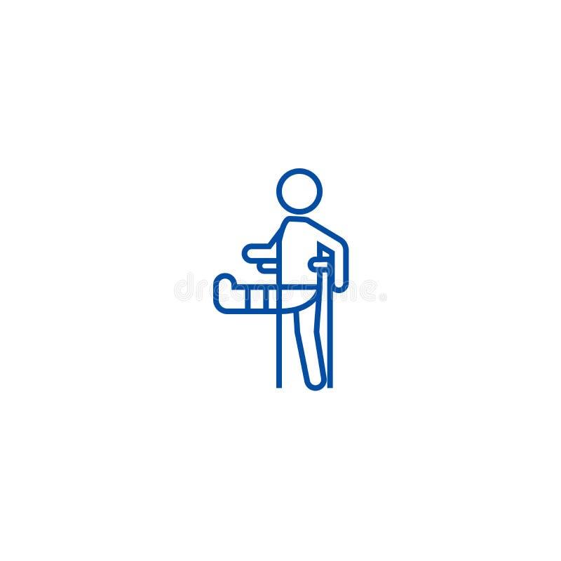 Mężczyzna z złamaną nogą, gipsowy nożny szczudło linii ikony pojęcie Mężczyzna z złamaną nogą, gipsowego nożnego szczudła płaski  royalty ilustracja