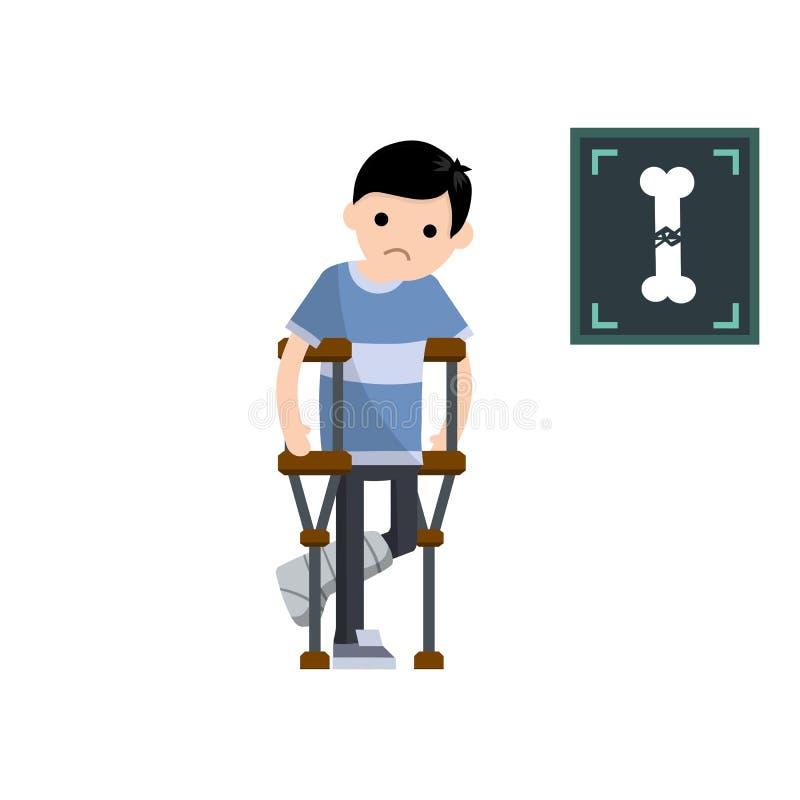 Mężczyzna z złamaną nogą Kreskówki mieszkania ilustracja ilustracja wektor