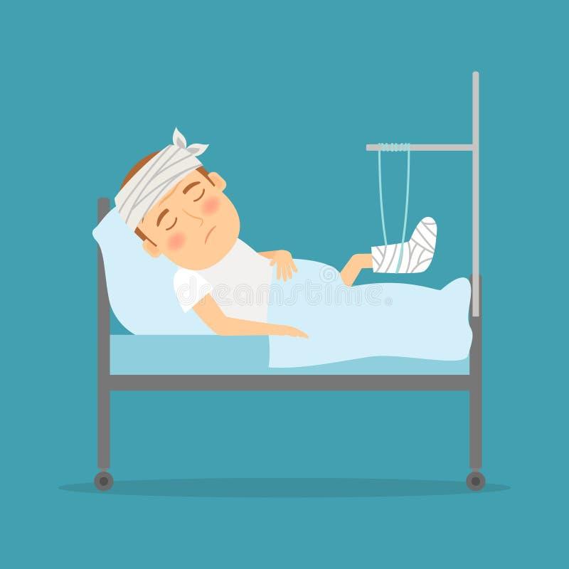 Mężczyzna z złamanej nogi kreskówki ilustracją ilustracja wektor