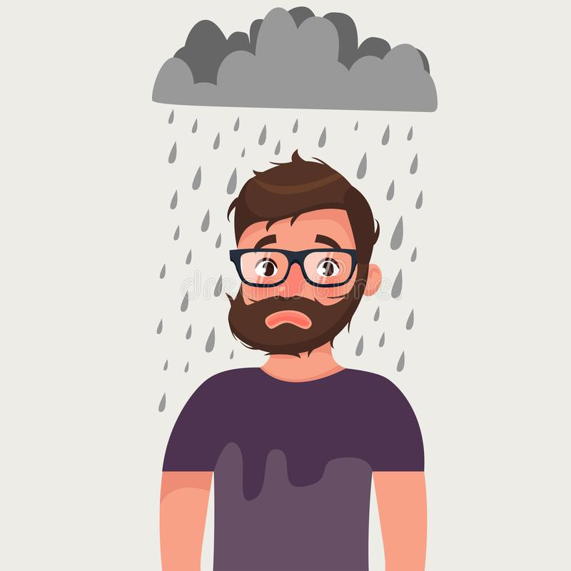 Mężczyzna z złym nastrojem pod deszczem Wektorowa ilustracja w kreskówka stylu royalty ilustracja