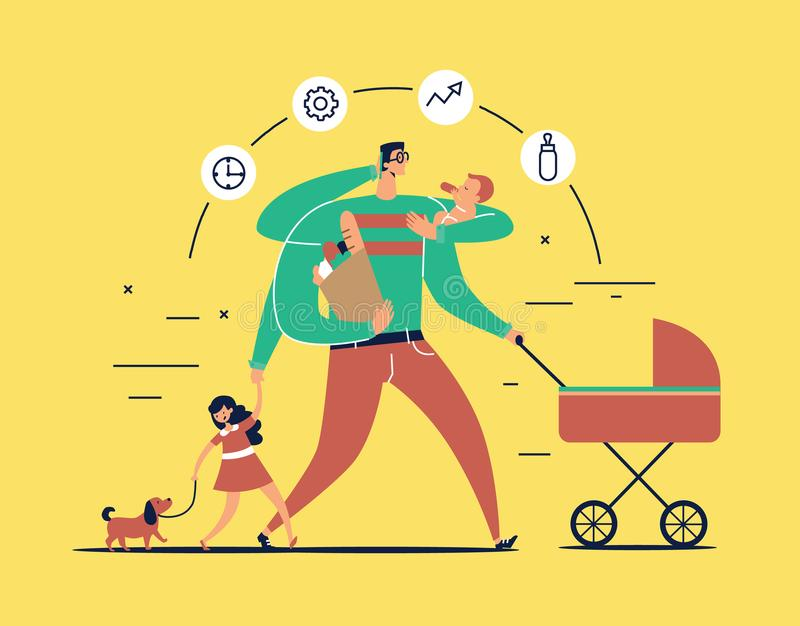 Mężczyzna z zadanie ikonami wokoło głowy i kilka ręk niesie nowonarodzonego dziecka, spacerowicz, torba z jedzeniem, rozmowy na t royalty ilustracja