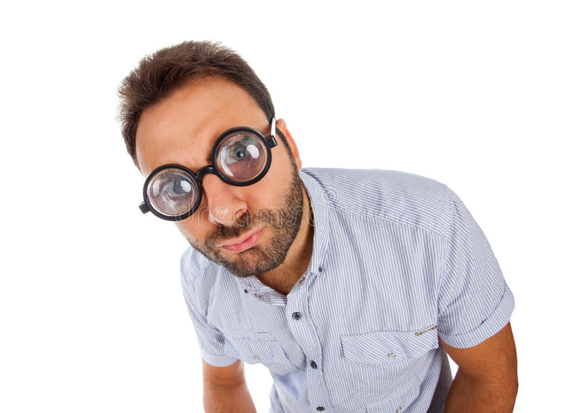 Download Mężczyzna Z Zdziwionym Wyrażeniem Gęstymi Szkłami I Zdjęcie Stock - Obraz złożonej z glassful, samiec: 53788384