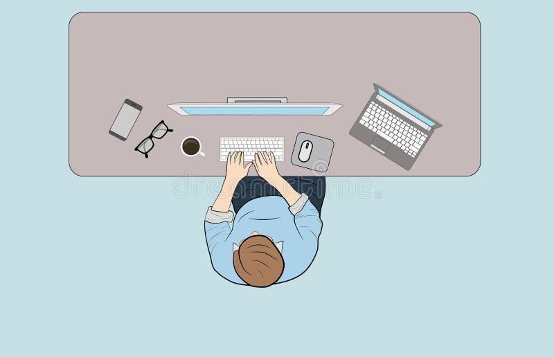 Mężczyzna za miejscem pracy, odgórny widok Praca przy komputerem narzędzia rozprzestrzeniają out na stole również zwrócić corel i ilustracji
