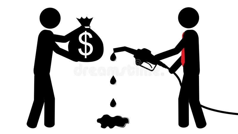 Mężczyzna zakupu benzyna ilustracja wektor
