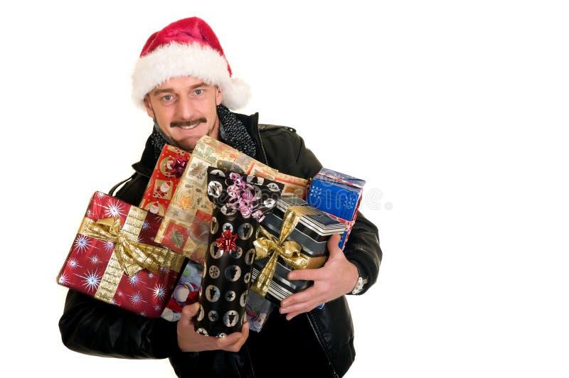 mężczyzna zakupy xmas zdjęcie royalty free