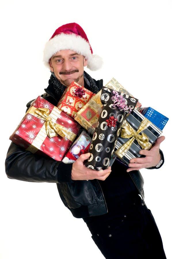 mężczyzna zakupy xmas fotografia stock