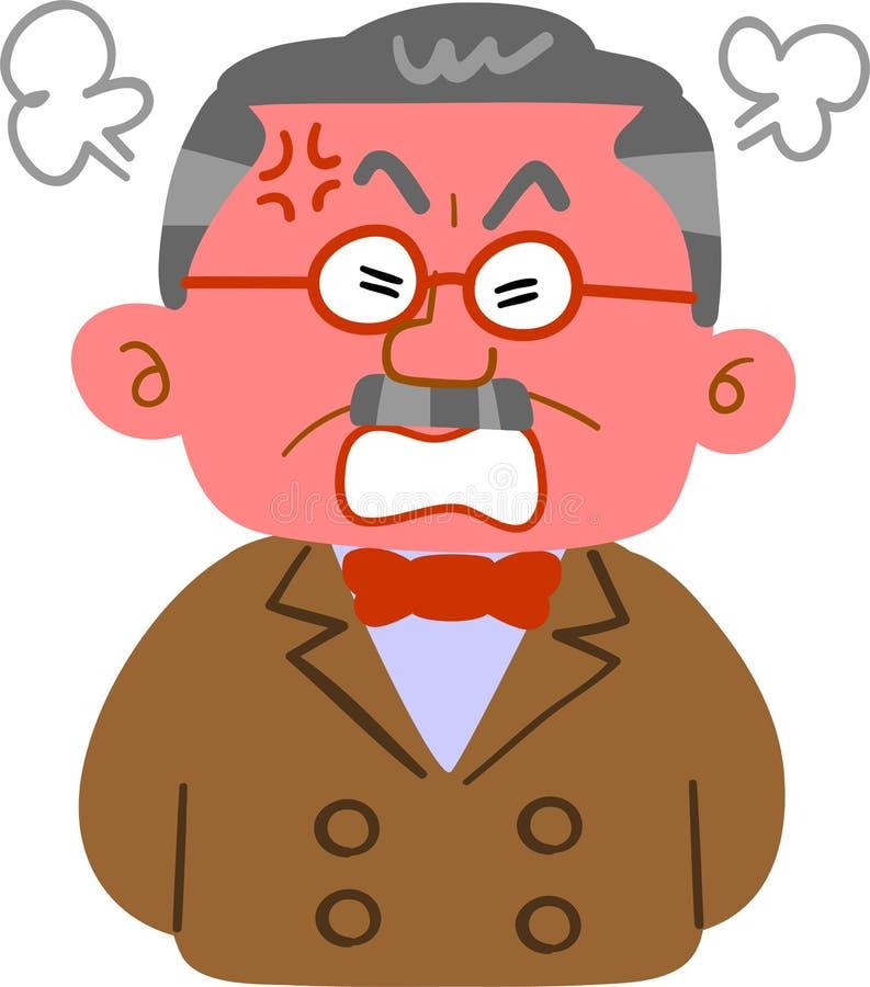 Mężczyzna zamożna furia który jest wściekłego _prezydenta _Górnym ciałem royalty ilustracja