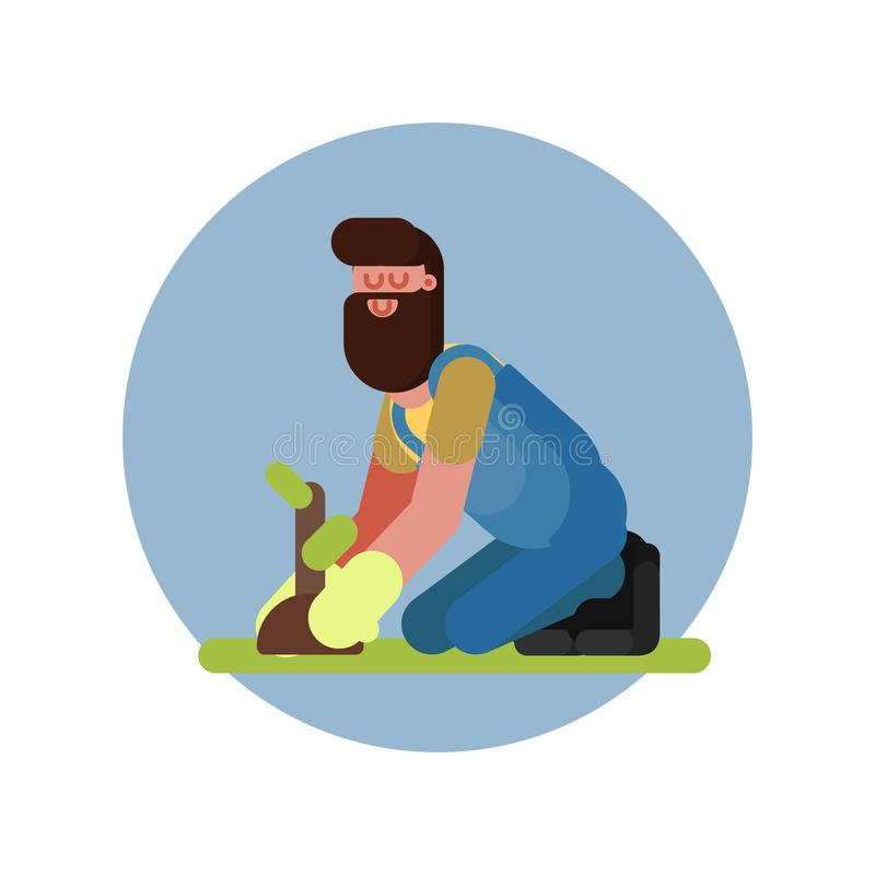 Mężczyzna zasadza rośliny na jego kolanach ilustracja wektor