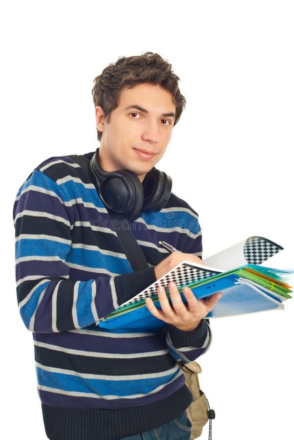 mężczyzna zauważa mądrze studenckiego zabranie zdjęcie stock