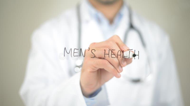 Mężczyzna zdrowie, Doktorski writing na przejrzystym ekranie zdjęcia stock