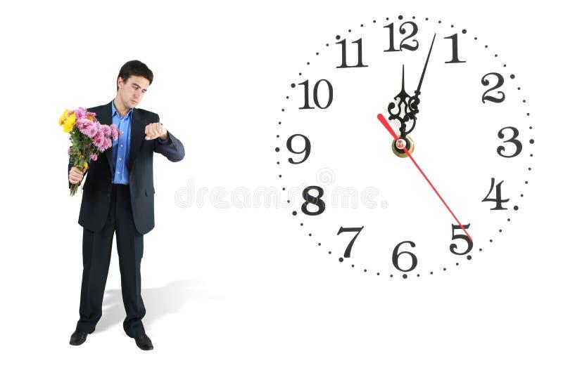 mężczyzna zegarowy czekanie zdjęcie royalty free
