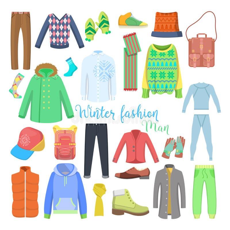 Mężczyzna zima Odzieżowa i akcesoria Inkasowi z butami, żakietami i pulowerami, ilustracja wektor