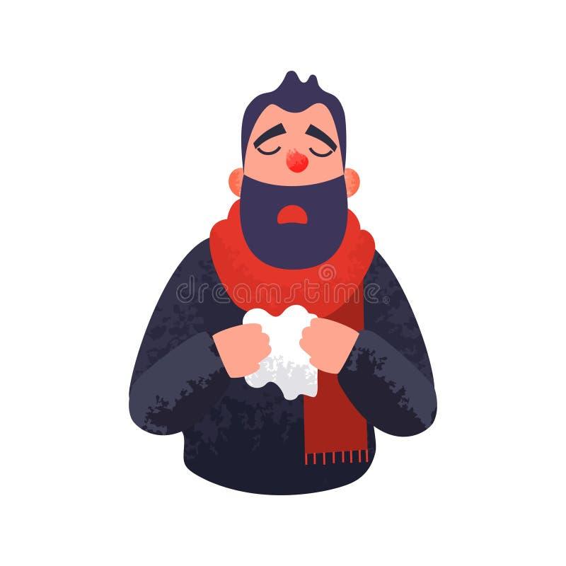 Mężczyzna zimno Grypowy chory chory pojęcie royalty ilustracja